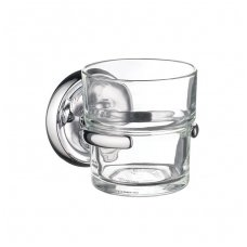 Smedbo vonios stiklinė skaidraus stiklo Villa K243 su chromuotu laikikliu