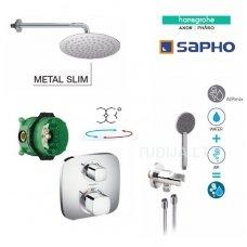 Termostatinė potinkinė dušo sistema Hansgrohe / Sapho su stacionaria 25 cm metaline dušo galva