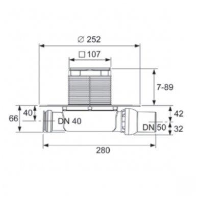 TECEdrainpoint S 112 sausas trapas, horizontalus, ypač plokščias su flanšu 5