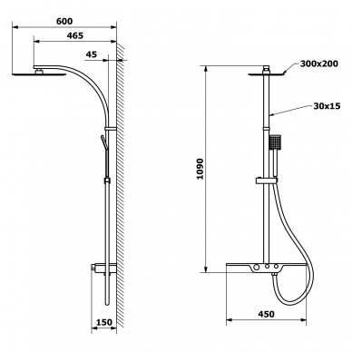 Dušo sistema Sapho DALIA su termostatiniu maišytuvu 8