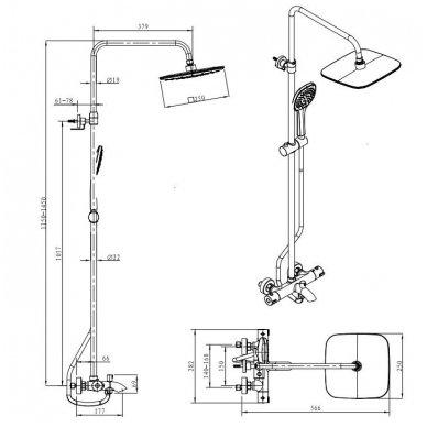 Termostatinė dušo/vonios sistema Siko Optima OPTIMASSTZV 4
