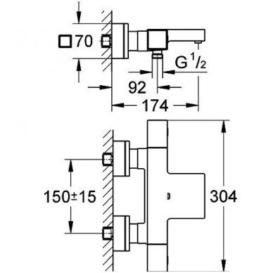 Termostatinis maišytuvas Grohe Grohtherm Cube 3