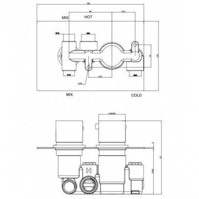 Termostatinis maišytuvas voniai 2 taškų Omniress Fresh F7136 2