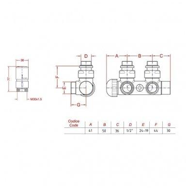 TWIN centrinis pajungimo komplektas su termostatiniu ventiliu 2