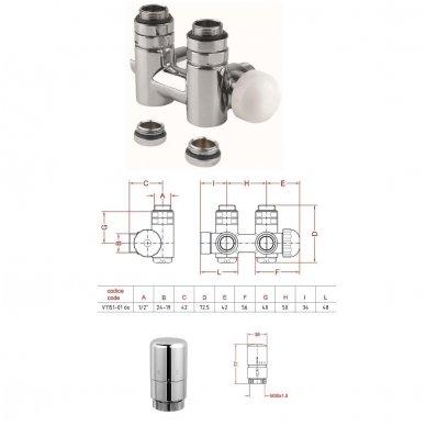 TWIN Combi centrinis pajungimo komplektas su termostatiniu ventiliu.Dešinės pusės 3