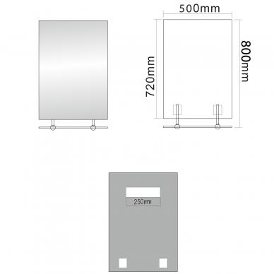 Veidrodis su lentynele Wega 50x80cm 4