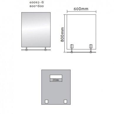 Veidrodis su lentynele Wega 60x80cm 4