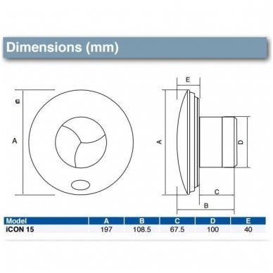 Ventiliatorius AirFlow iCON 15  Ø100mm 68 m3/val 2