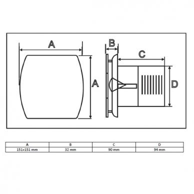 Ventiliatorius voniai Sapho Lex Axial 3