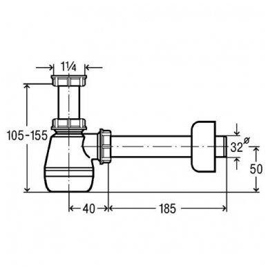 Viega bide sifonas, baltas, butelinis be ventilio, 32 x 32 mm 3