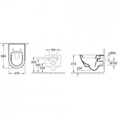 Villeroy&Boch Subway SLIM pakabinamas WC su soft close dangčiu 2