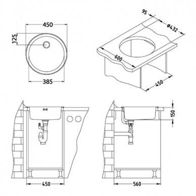 Virtuvinė plautuvė Alveus Form 10, lininis paviršius 2