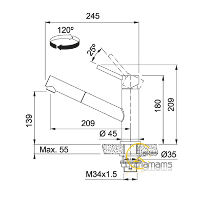 Virtuvinis maišytuvas su ištraukiama žarna Franke Orbit 115.0569.461 2
