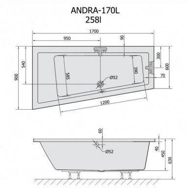 Vonia ANDRA 170x90x45 cm kairinė Akrilinė 81111 7