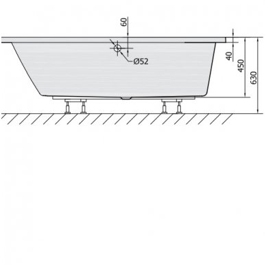 Vonia ANDRA 170x90x45 cm kairinė Akrilinė 81111 6