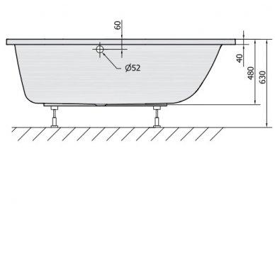 Vonia CLEO 170x75x48 cm Akrilinė 04611 4