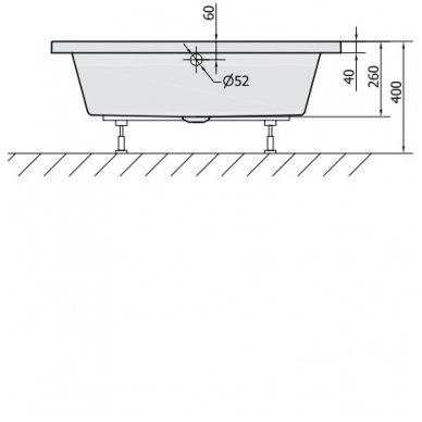 Gilus dušo padėklas DEEP 100x90x26 cm akrilinis 72340 2