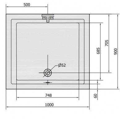 Gilus dušo padėklas DEEP 100x90x26 cm akrilinis 72340 3