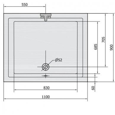 Gilus dušo padėklas DEEP 110x90x26 cm akrilinis 72363 3