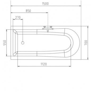 Vonia LISA 150x70x47cm Akrilinė 85111 9