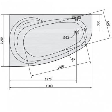 Vonia NAOS L 150x100x43cm Akrilinė 18111 10