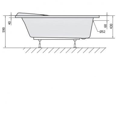 Vonia NAOS L 150x100x43cm Akrilinė 18111 9