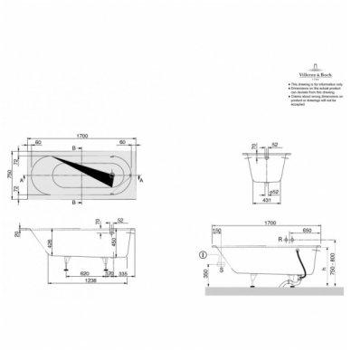 Vonia Villeroy & Boch Oberon 170x75cm su kojomis 3