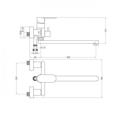 Vonios maišytuvas ilgu snapu Deante Alpinia 2