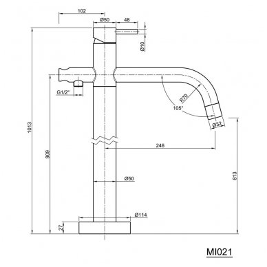 Vonios maišytuvas iš grindų Sapho Minimal MI021 3