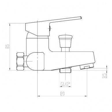 Vonios maišytuvas Aqualine Areta GH126 2