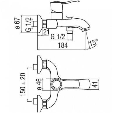 Vonios maišytuvas SOFI su dušo komplektu 2