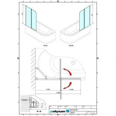 Vonios sienelė Polysan Paloma 90cm pločio 8