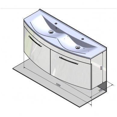 Vonios spintelė ERRA JULIE su praustuvu 150x51cm 2