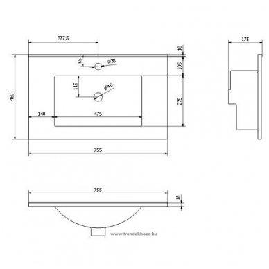 Vonios spintelė Erra Mitra  MT071 su praustuvu 3