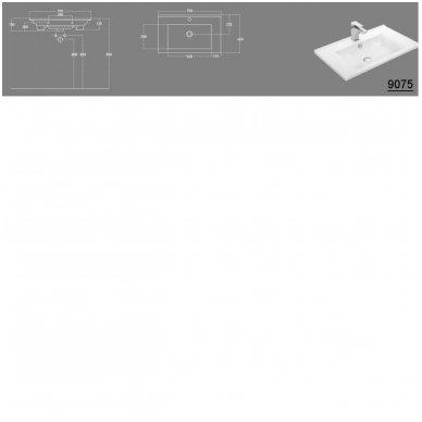 Vonios spintelė Etide su praustuvu 75cm 12