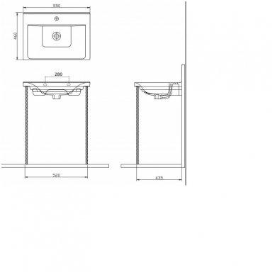 Vonios spintelė Favolo su praustuvu 55cm 10