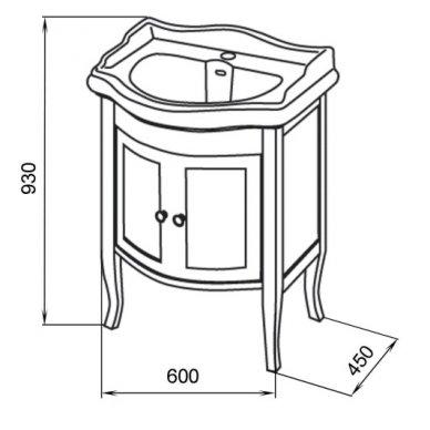 Vonios spintelė Retro 735140 su Kerasan Retro praustuvu 69cm 7