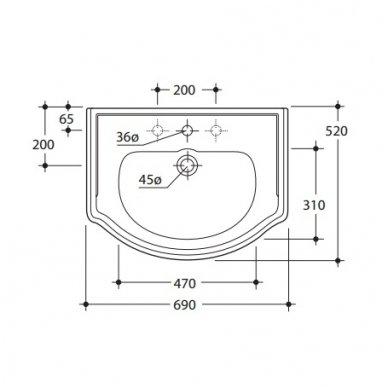 Vonios spintelė Retro 735140 su Kerasan Retro praustuvu 69cm 8