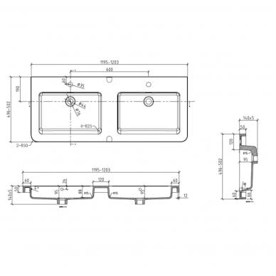 Vonios spintelė su praustuvu PAVIA 120cm 5