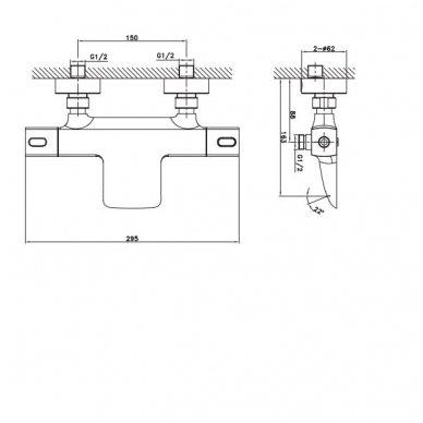 Vonios termostatinis maišytuvas Mixona MG410 10