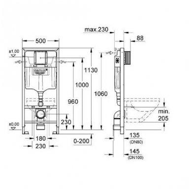 WC rėmo komplektas Grohe Rapid SL 38981000 2