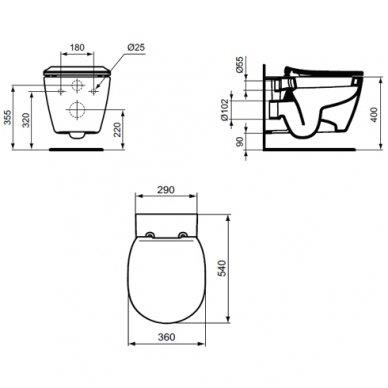 WC rėmo komplektas GROHE Rapid SL ir IDEAL STANDARD Connect su soft-close dangčiu 4