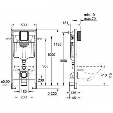 WC rėmo komplektas GROHE Rapid SL ir IDEAL STANDARD Connect su soft-close dangčiu 6
