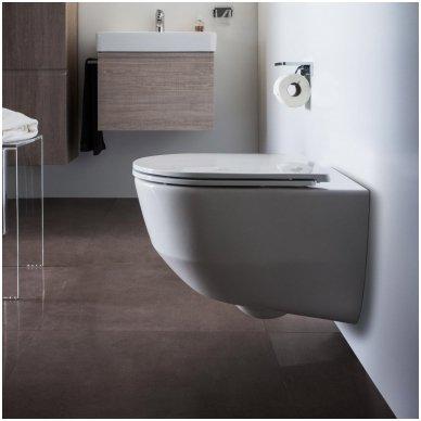 WC rėmo Tece, juodo mygtuko Now ir klozeto Laufen Pro Rimless su plonu lėtaeigiu dangčiu komplektas 3