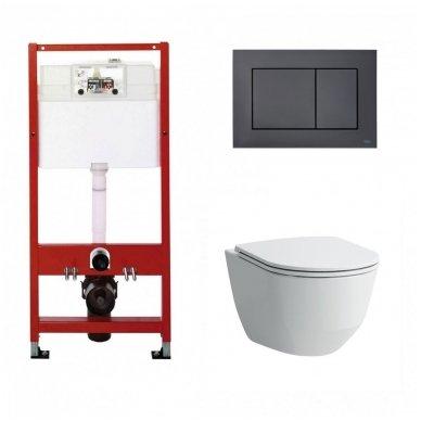 WC rėmo Tece, juodo mygtuko Now ir klozeto Laufen Pro Rimless su plonu lėtaeigiu dangčiu komplektas