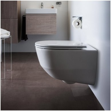 WC rėmo Viega, juodo mygtuko Visign 10 ir klozeto Laufen Pro Rimless su plonu lėtaeigiu dangčiu komplektas 3