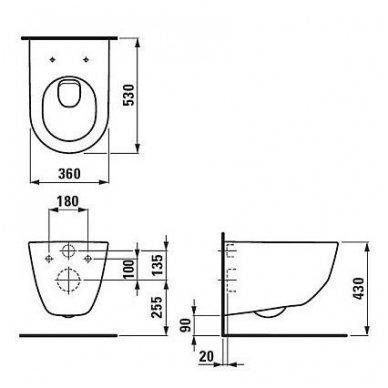 WC rėmo Viega, juodo mygtuko Visign 10 ir klozeto Laufen Pro Rimless su plonu lėtaeigiu dangčiu komplektas 10