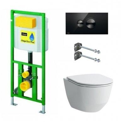 WC rėmo Viega, juodo mygtuko Visign 10 ir klozeto Laufen Pro Rimless su plonu lėtaeigiu dangčiu komplektas