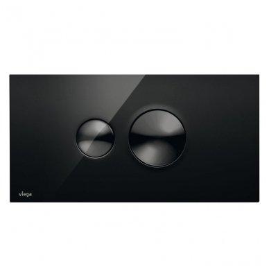 WC rėmo Viega, juodo mygtuko Visign 10 ir klozeto Villeroy $ Boch Subway 2.0 Direct Flush su plonu lėtaeigiu dangčiu komplektas 10