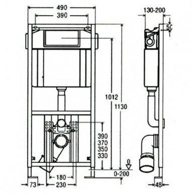 WC rėmo Viega, juodo mygtuko Visign 10 ir klozeto Villeroy $ Boch Subway 2.0 Direct Flush su plonu lėtaeigiu dangčiu komplektas 12